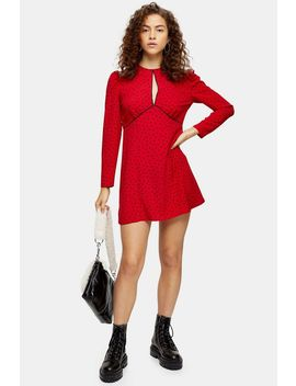 petite-piped-keyhole-mini-dress by topshop