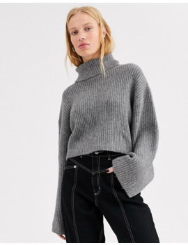 monki-high-neck-cropped-sweater-in-gray by monki