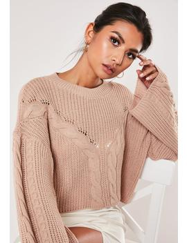 pink-cable-knit-front-wide-sleeve-cropped-sweater by missguided