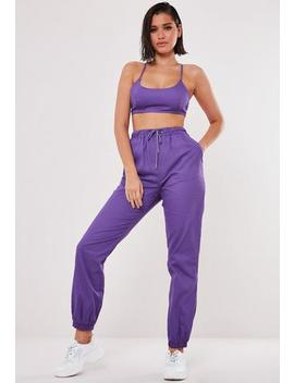 purple-co-ord-twill-joggers by missguided