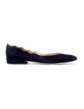 laurena-scalloped-suede-ballet-flats by chloé