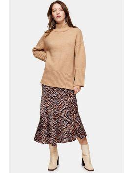 animal-satin-flounce-midi-skirt by topshop