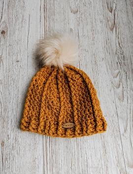 toddler-mustard-winter-hat-with-fur-pom-pom by etsy