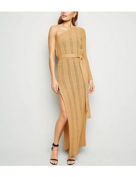carpe-diem-light-brown-knit-one-shoulder-maxi-dress by new-look