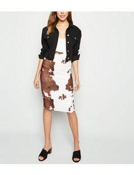 pink-vanilla-brown-cow-print-midi-skirt by new-look