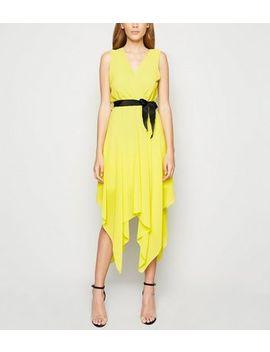cameo-rose-yellow-tie-waist-wrap-midi-dress by new-look