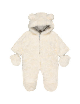 fluffy-cream-snowsuit by mothercare