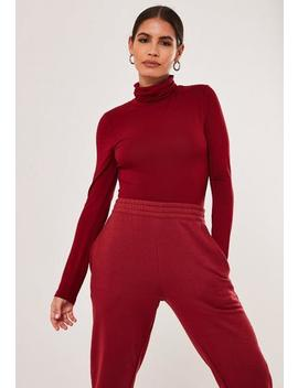 red-high-neck-long-sleeve-bodysuit by missguided