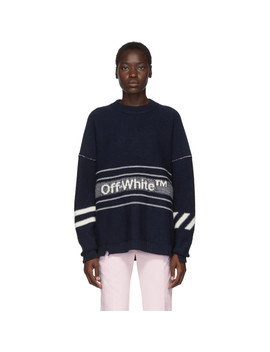 ssense-exclusive-navy-wool-logo-sweater by off-white