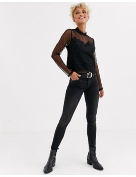 new-look-mesh-detail-evening-top-in-black by new-look