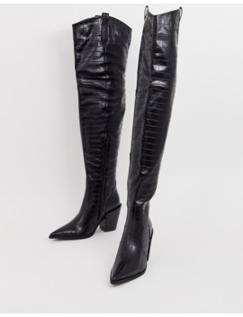 truffle-collection-western-thigh-high-boots-in-black-croc by asos