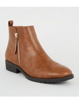 tan-leather-look-flat-ankle-boots by new-look