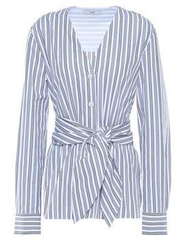liam-tie-front-striped-cotton-poplin-shirt by tibi