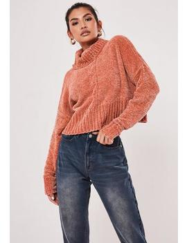 terracotta-chenille-roll-neck-cable-knit-jumper by missguided