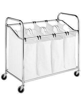 Whitmor Chrome & Canvas 4 Section Laundry Sorter by Whitmor