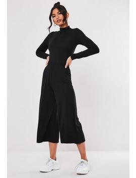 black-high-neck-tie-waist-culotte-jumpsuit by missguided