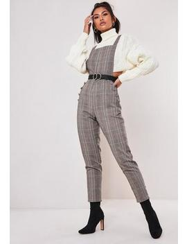 brown-check-print-dungaree-jumpsuit by missguided
