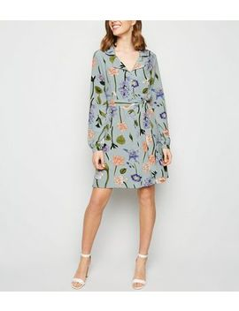 blue-vanilla-pale-blue-floral-shirt-dress by new-look