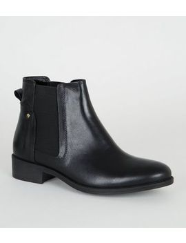 black-leather-flat-chelsea-boots by new-look