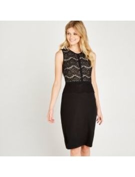 black-lace-overlay-bodycon-midi by apricot