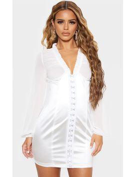 petite-white-hook-and-eye-satin-mini-dress- by prettylittlething