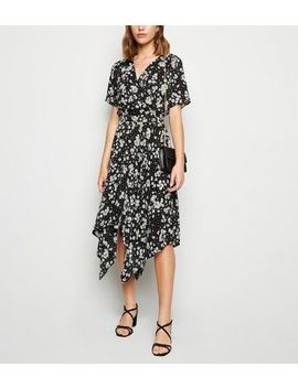 black-floral-spot-print-hanky-hem-midi-dress by new-look