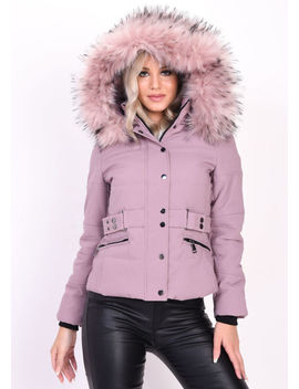 quilted-faux-fur-hooded-belted-puffer-coat-pink by lily-lulu-fashion