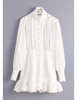 high-neck-puff-sleeved-layered-hem-shirt-dress-white by lily-lulu-fashion