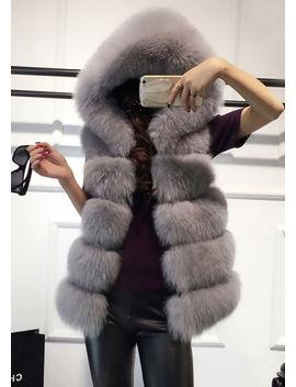faux-fur-stripe-hooded-gilet-jacket-grey by lily-lulu-fashion