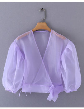 organza-puff-sleeves-wrap-over-shirt-blouse-lilac-purple by lily-lulu-fashion