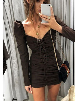 puff-sleeve-lace-up-ruched-mini-bodycon-dress-black by lily-lulu-fashion