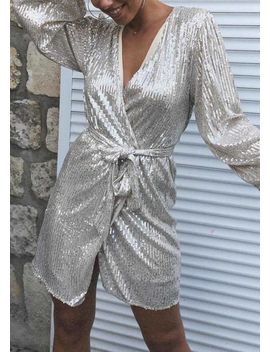 sequin-belted-wrap-over-long-puff-sleeve-mini-dress-sliver by lily-lulu-fashion