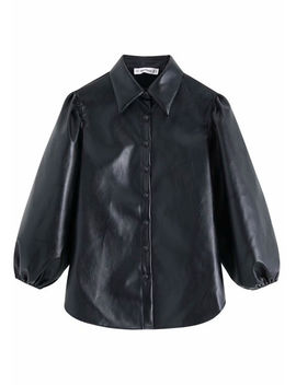 faux-leather-puff-sleeves-shirt-black by lily-lulu-fashion