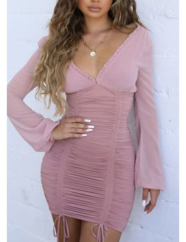 deep-v-neck-long-sleeved-ruched-mini-bodycon-dress-pink by lily-lulu-fashion