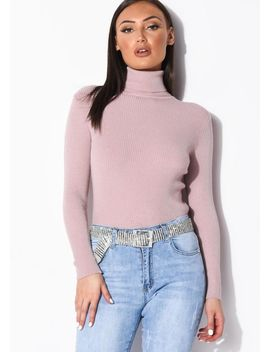 roll-neck-ribbed-knit-jumper-top-pink by lily-lulu-fashion