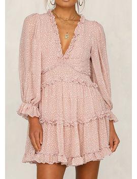 frilled-v-neck-tiered-mini-dress-animal-print-pink by lily-lulu-fashion