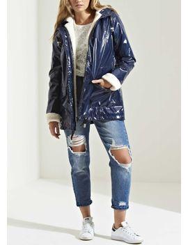 high-shine-rain-mac-fully-lined-festival-hooded-coat-borg-navy-blue by lily-lulu-fashion