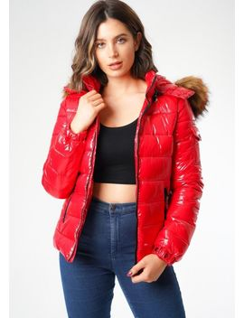 wet-look-shinny-faux-fur-hooded-puffer-coat-red by lily-lulu-fashion