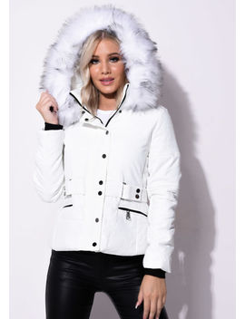 quilted-faux-fur-hooded-belted-puffer-coat-white by lily-lulu-fashion