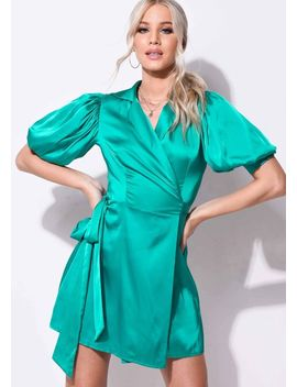 puff-sleeve-wrap-front-satin-dress-green by lily-lulu-fashion