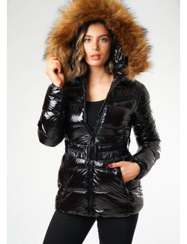wet-look-shinny-faux-fur-hooded-puffer-belted-coat-black by lily-lulu-fashion