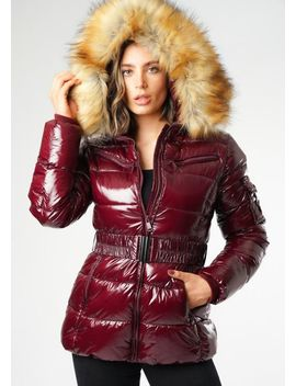 wetlook-shinny-faux-fur-hooded-puffer-belted-coat-burgundy-red by lily-lulu-fashion
