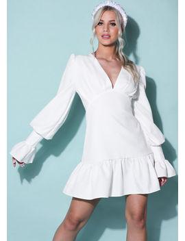 flute-sleeve-v-neck-frill-puff-sleeve-mini-dress-white by lily-lulu-fashion
