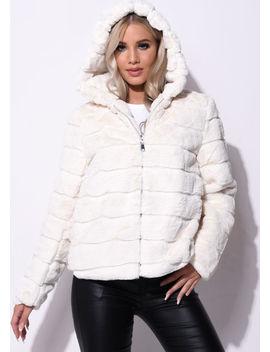 faux-fur-striped-crop-hooded-coat-cream-beige by lily-lulu-fashion