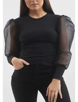organza-mesh-puff-long-sleeve-ribbed-top-black by lily-lulu-fashion