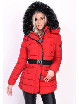 quilted-hooded-padded-belted-puffer-coat-red by lily-lulu-fashion