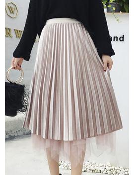 reversible-midi-velvet-tulle-pleated-skirt-beige by lily-lulu-fashion
