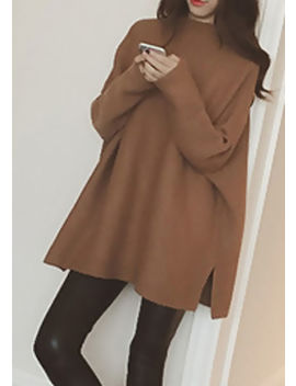 chunky-mock-neck-camel-knitted-oversized-jumper-brown by lily-lulu-fashion