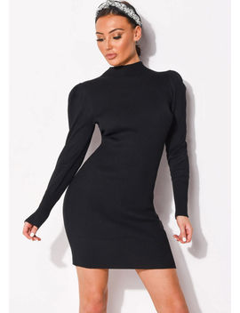 puff-sleeve-ribbed-knit-high-neck-jumper-dress-black by lily-lulu-fashion