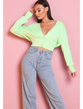 v-neck-ribbed-knitted-front-button-crop-cardigan-top-green by lily-lulu-fashion